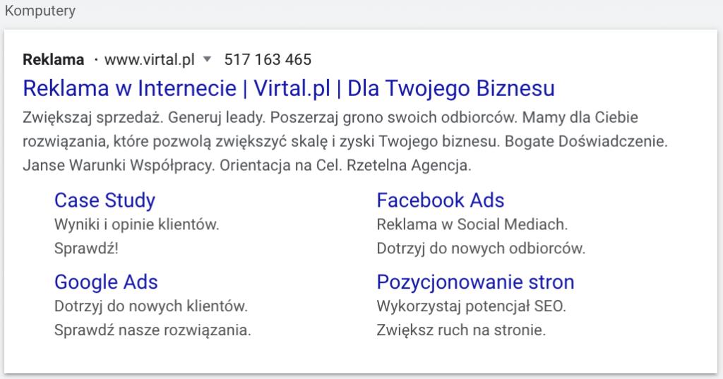 Przykład reklamy tekstowej w wyszukiwarce na komputerach