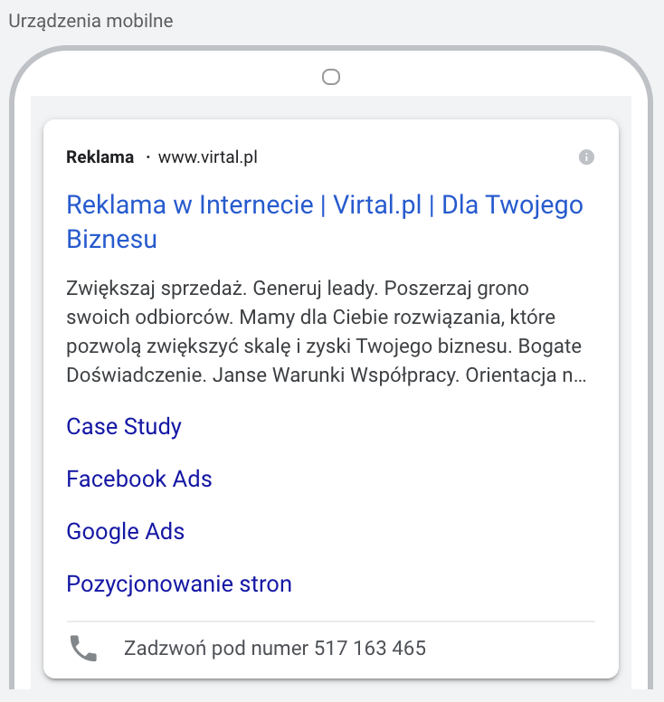 Podgląd reklamy w wyszukiwarce google na urządzeniach mobilnych